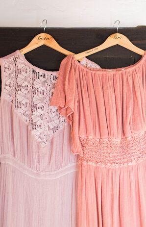 Bohemian Pink and Coral Bridesmaid Dresses