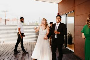 Vintage-Inspired Wedding Dress and Brown Suit