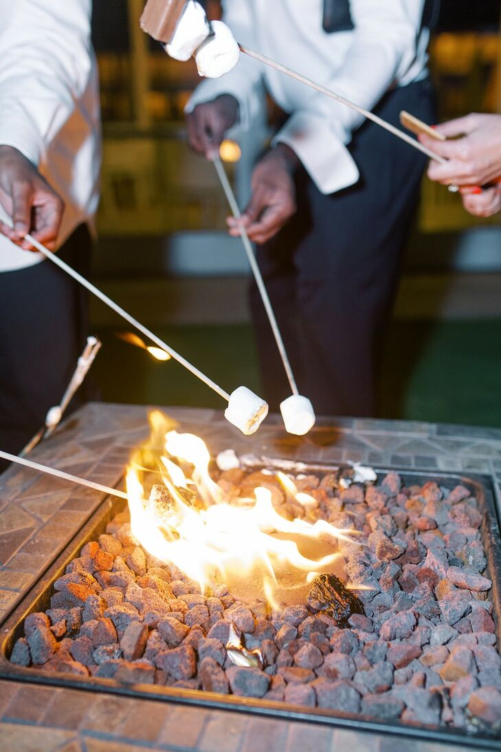 Roasting Marshmallows at Outdoor Fire Pit
