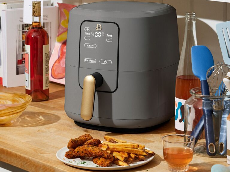 Chic gray and gold air fryer fourth anniversary appliance gift