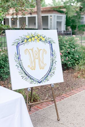 Elegant Sign with Monogram and Easel