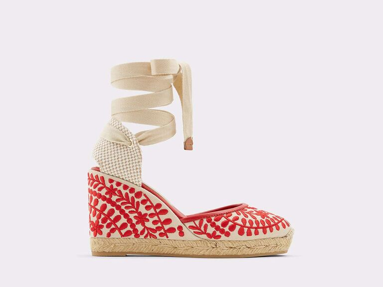 ALDO Shoes Muschino strappy espadrilles wedge heel in Red