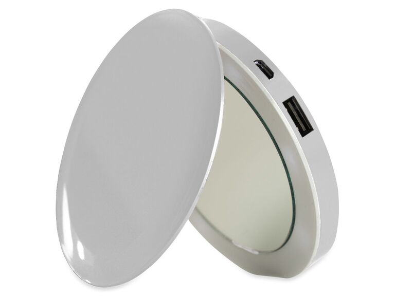 Silver compact mirror phone charger gift for sister-in-law
