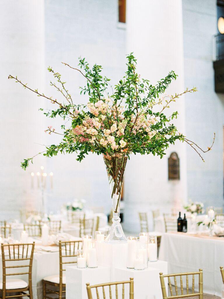 spring wedding centerpieces tall greens