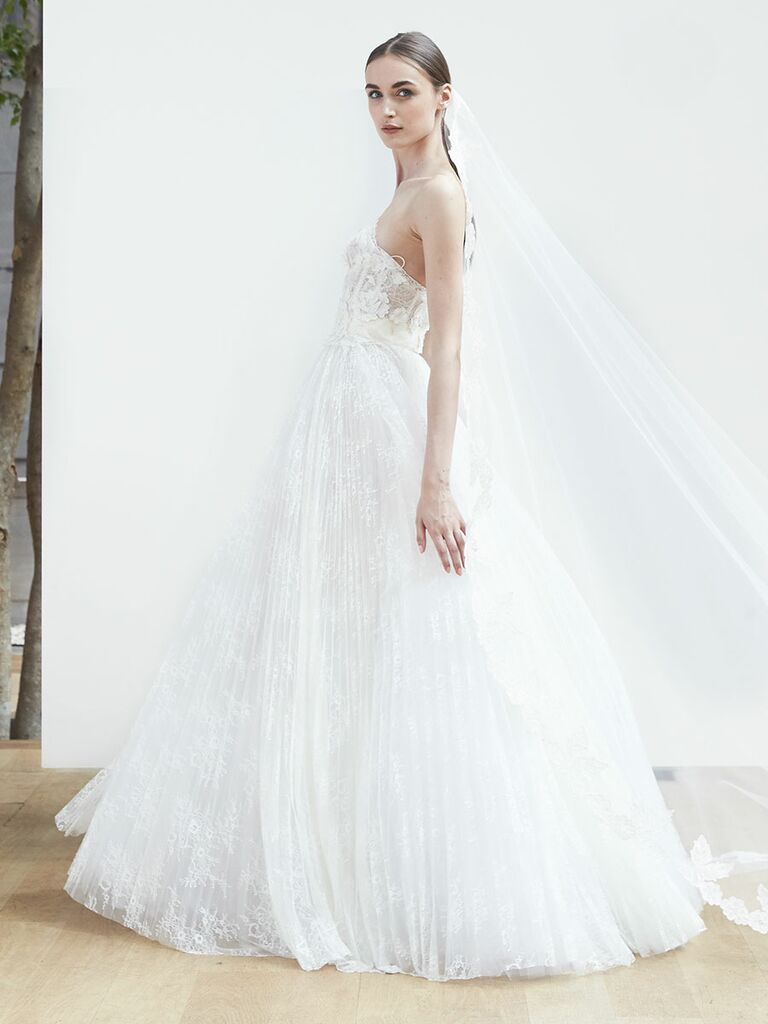 437080418ac Oscar de la Renta Spring 2018 strapless ball gown with floral overlay and  pleated skirt