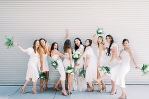 Modern Bridesmaids with Short White Dresses and Green Bouquets
