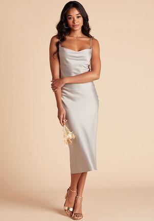 Birdy Grey Lisa Satin Midi Dress in Pewter Scoop Bridesmaid Dress