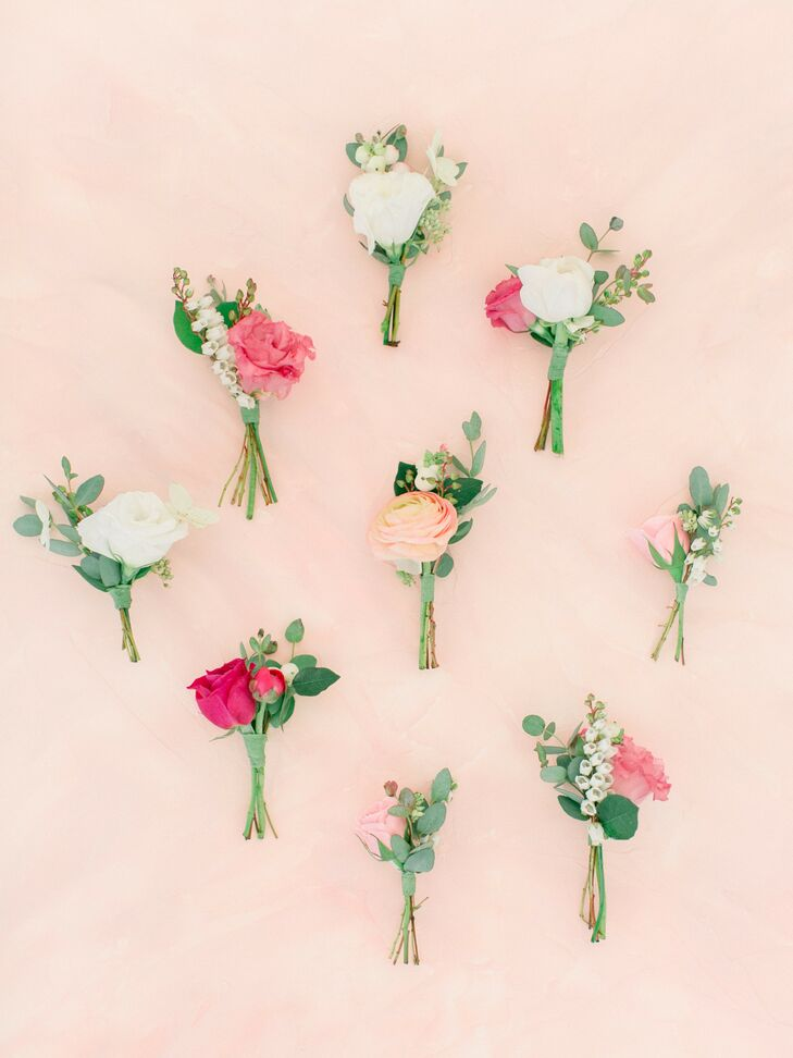 Romantic Pink and White Boutonnieres