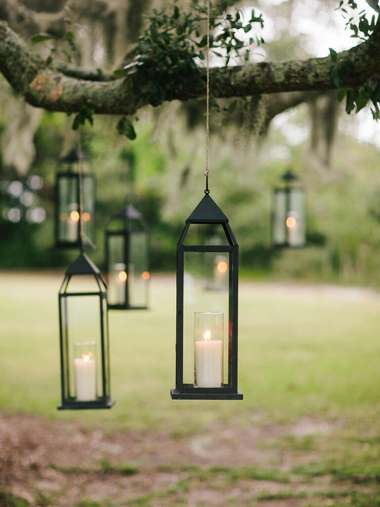 Outdoor lanterns in trees