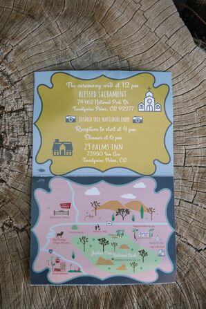 Custom Invitations with Illustrated Wedding Map