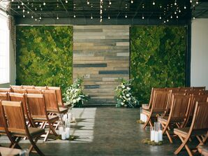 Loft Ceremony with Moss Wall, Candles and Wooden Folding Chairs