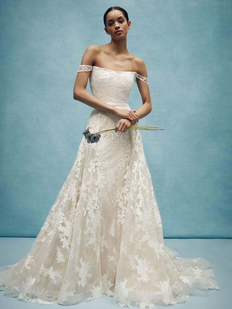 Anne Barge Spring 2020 Bridal Collection off-the-shoulder lace A-line wedding dress