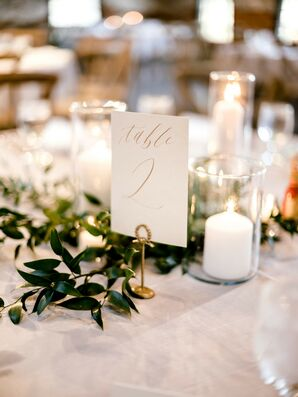 Elegant Table Number, Candles and Greenery Garland