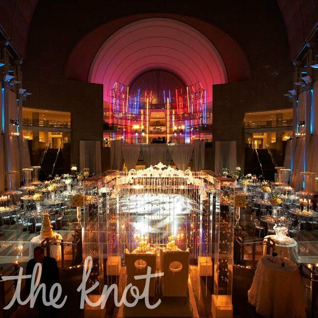 Both the ceremony and reception were held in the same space, wowing guests after its transformation.