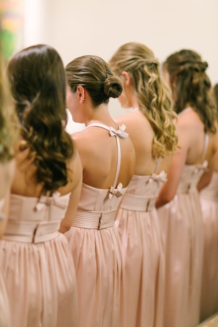 Blush Bow-Back Bridesmaid Dresses
