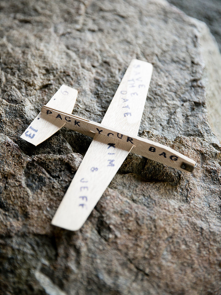 Miniature airplane save-the-date