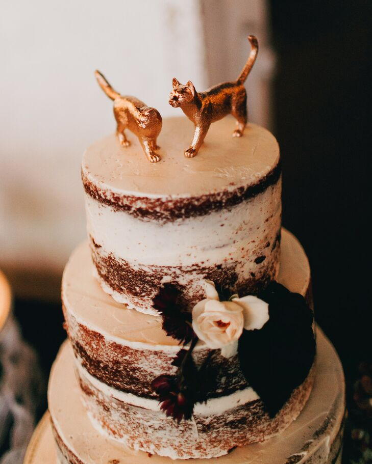 Whimsical Gold Cat Cake Topper on Rustic Naked Cake