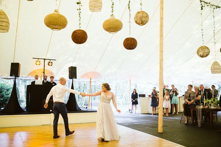 Dance Floor with Hanging Wicker Basket Installation