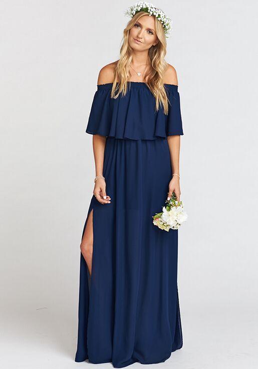 f0419ec9262 Show Me Your Mumu Hacienda Maxi Dress - Rich Navy Crisp Off the Shoulder  Bridesmaid Dress