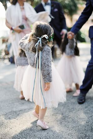 Blue Ribbon Accents for Flower Girls
