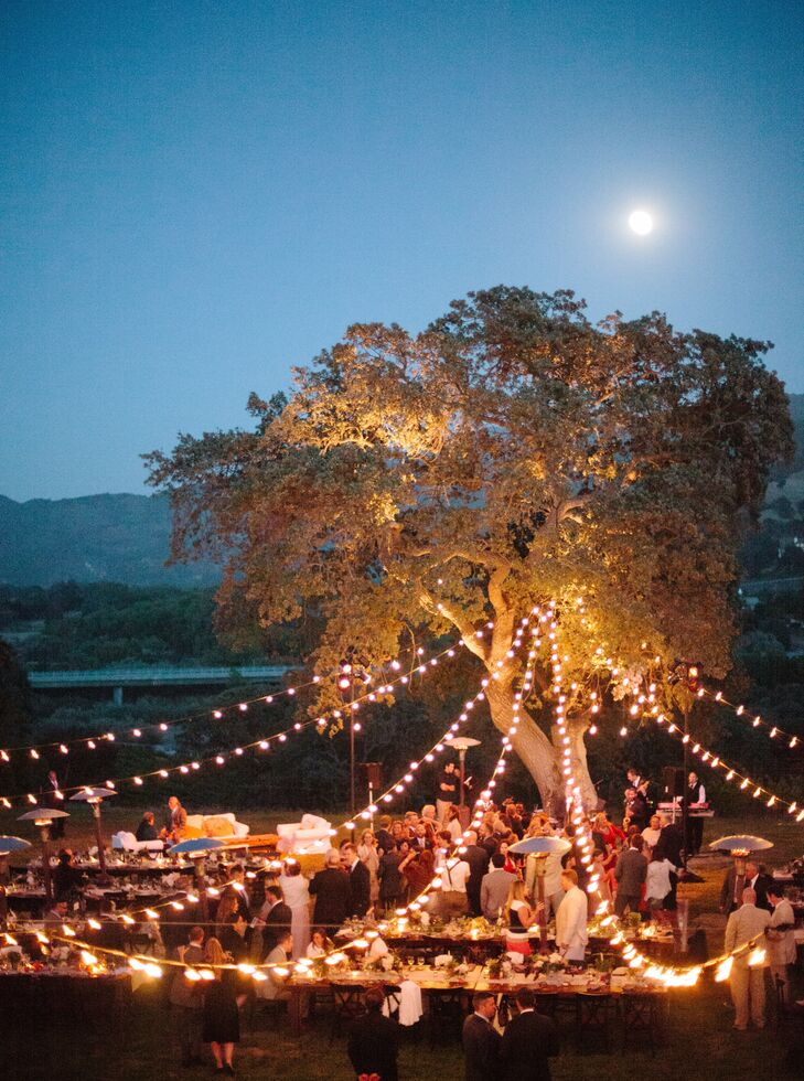 As the night wore on, globe lights strung from an oak tree cast a warm glow on the reception. While our guests danced, a super-moon rose in the evening sky, recalls Rachel. We couldn't have arranged a more perfect backdrop!