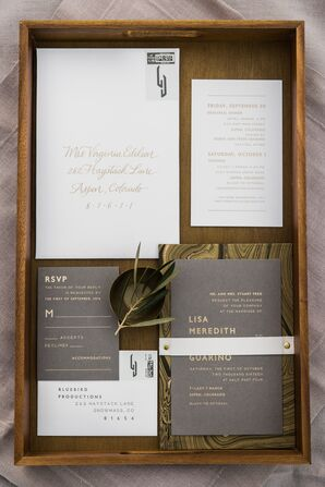 Modern Gray and Gold Invitations withe Marble Enclosure Cards