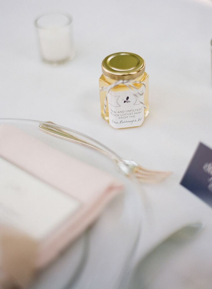 Wanting to add a touch from high school to the wedding, Katie and Teddy gave their guests little jars of honey that was harvested from the beehives behind the high school building.