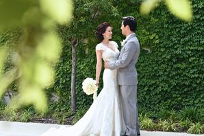 Beaded-Lace Wedding Dress With Cap Sleeves