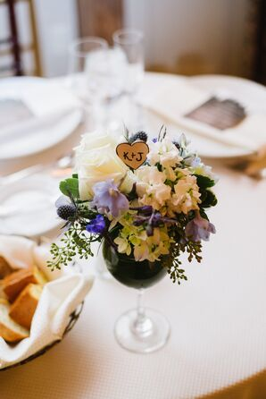 Rustic White and Purple Centerpieces