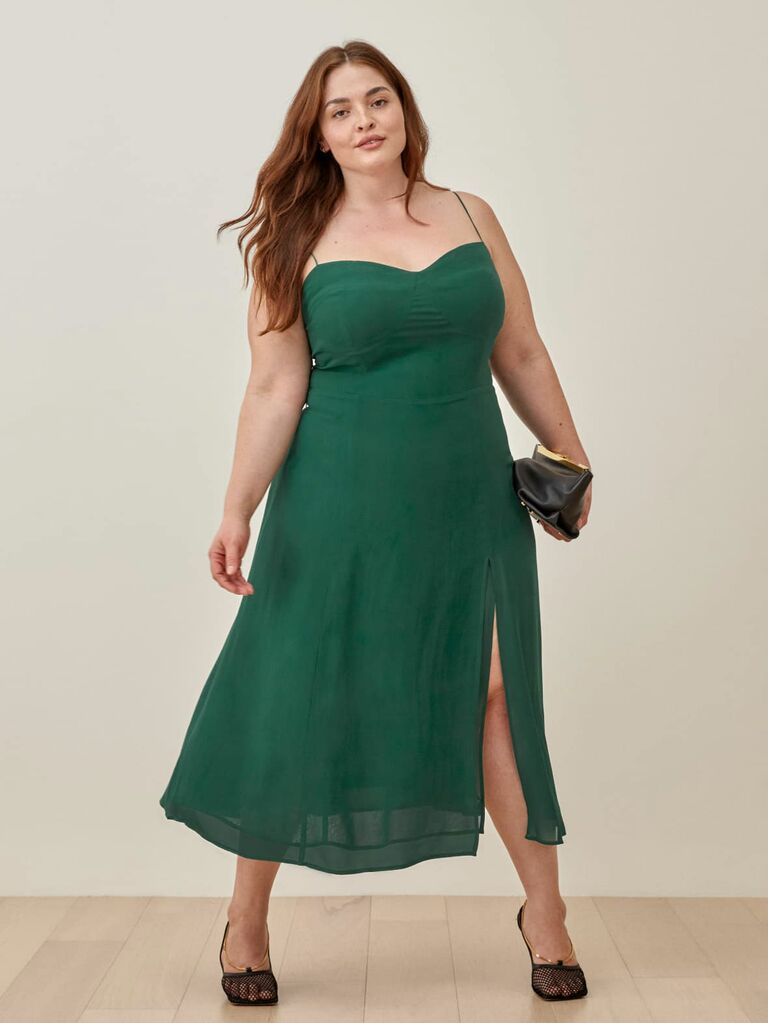 midi dress with spaghetti straps and slit