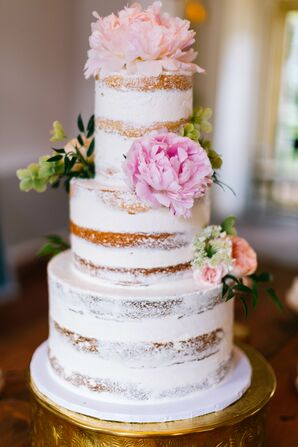 Three-Tier Naked Cake with Pink Peonies
