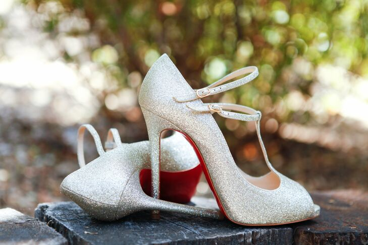 Gena wore these sparkly silver T-strap bridal heels down the aisle.