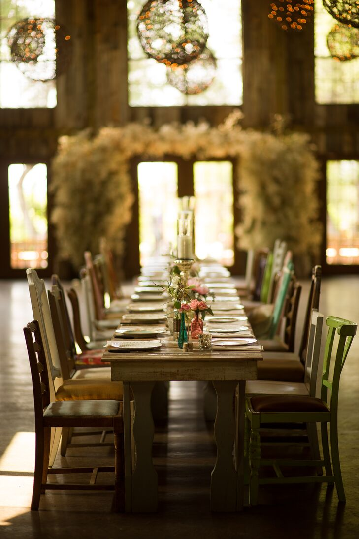 Rustic Wooden Farm Table Vintage Chairs