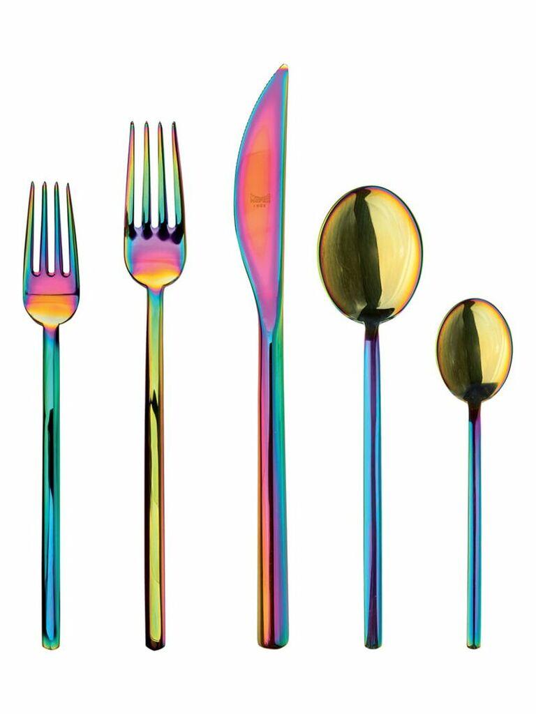 Five-piece cutlery set in multicolor fifth anniversary silverware gift