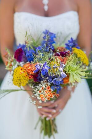 Wildflower-Inspired Colorful Bridal Bouquet