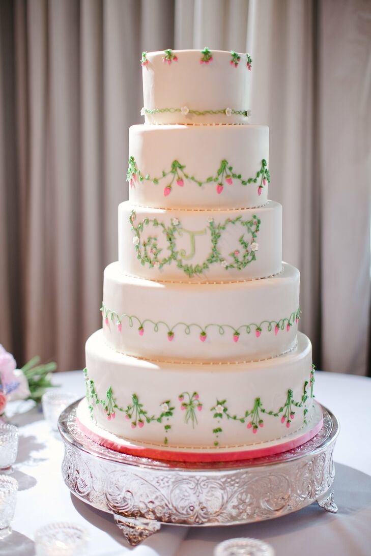 Pink and Green Monogrammed Wedding Cake