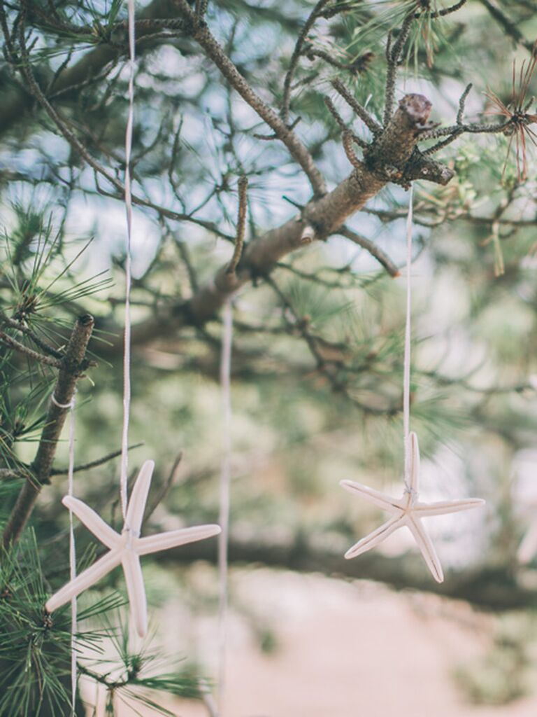 DIY beach-themed decorations for wedding reception