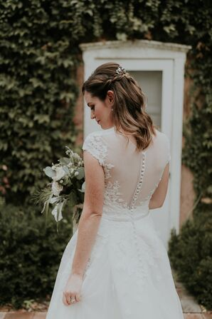 Lace-Trimmed Illusion Back with Covered Buttons
