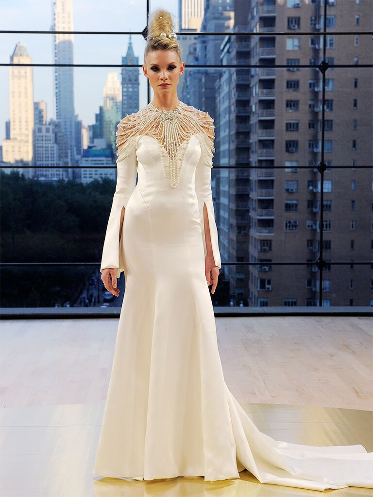 Ines Di Santo Fall 2018 Astrid off-the-shoulder trumpet gown with beaded cape