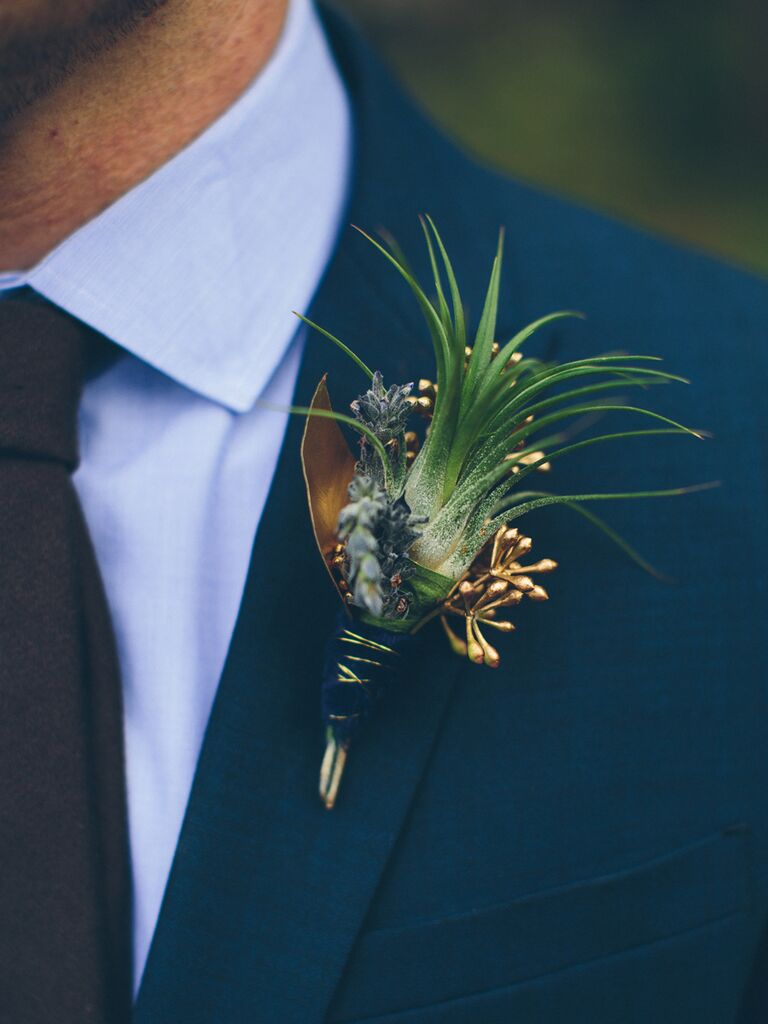 Thistles and gold accented boutonniere