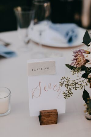 Romantic Table Numbers with Pink Calligraphy