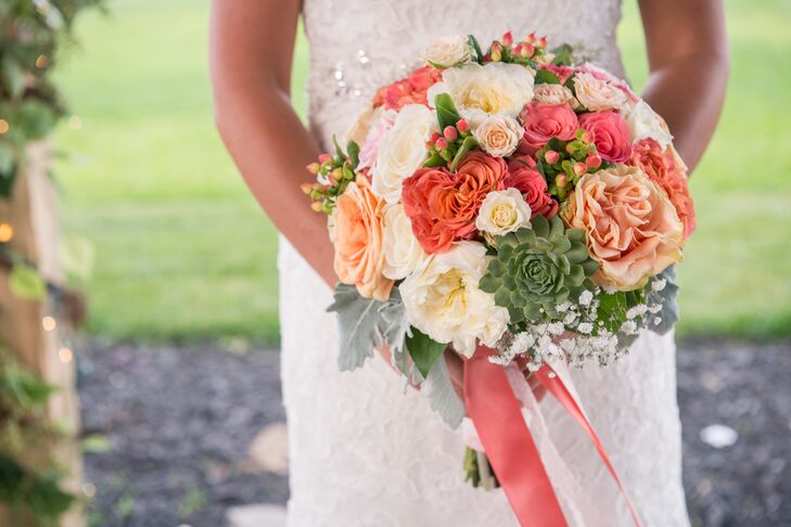 Rose, Succulent and Hypericum Berry Bridal Bouquet