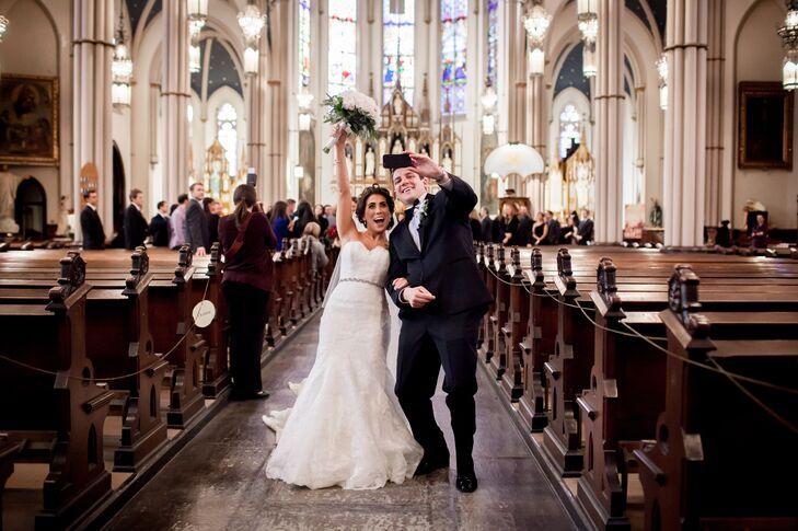 Bride, Groom Processional Selfie