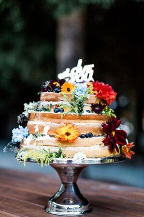 DIY Naked Wedding Cake With Flowers