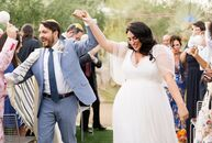 For their vibrant wedding in Palm Springs, Roey Mizrahi (33 and a Wedding Planner and Event Designer) and David Tenenholtz (36 and a Digital Archivist