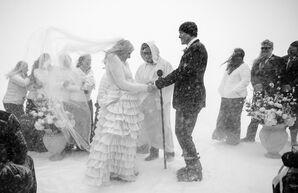 Snowy Winter Ceremony at Jackson Hole Mountain Resort in Teton Village, Wyoming