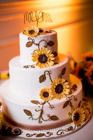 Wedding Cake with Sunflower Decor