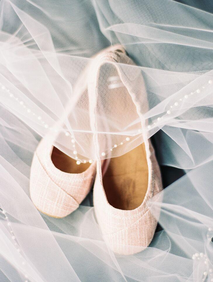 Blush Woven Ballet Flats