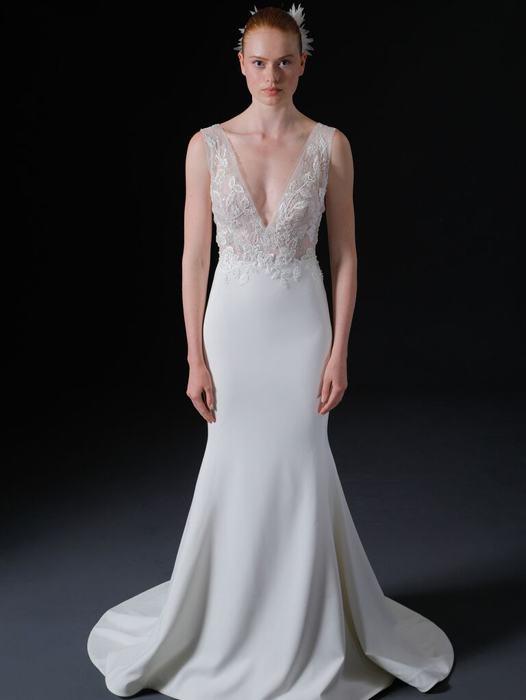 Isabelle Armstrong Spring 2020 Bridal Collection sleeveless fitted wedding dress with embellished bodice