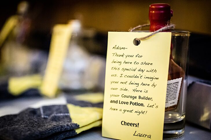 "Laura personalized a message to the groom to accompany her gift of liquid courage or otherwise a ""love potion"" in the form of a bottle of Jeremy's favorite whiskey."